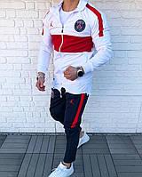 Спортивный костюм мужской белый с красным Jordan PSG