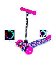 """Детский трехколесный самокат Scooter Mini со светящимися колесами и рисунком, \""""Орхидея\"""", фото 1"""
