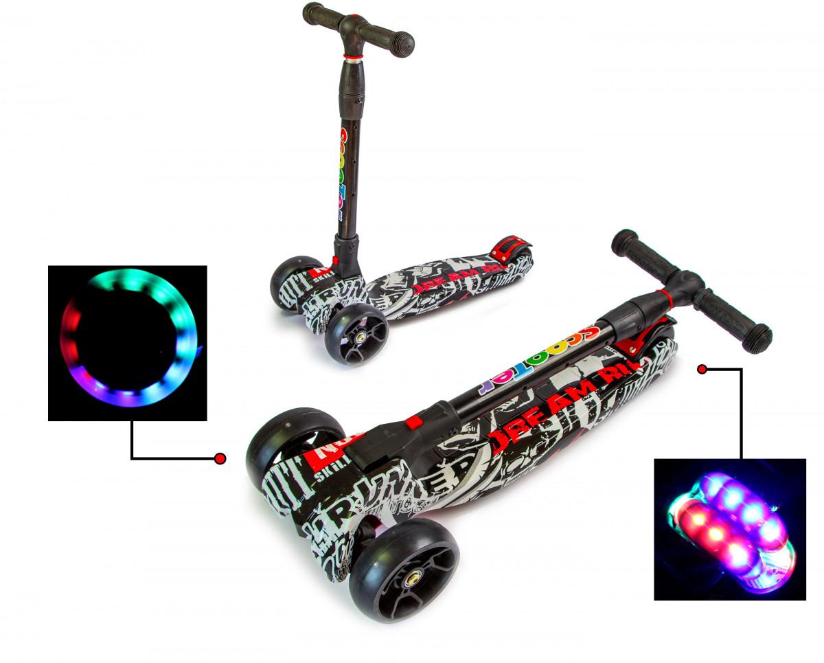 Детский трехколесный самокат Scooter Smart со светящимися колесами и складной ручкой, Street