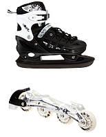 Раздвижные детские ролики-коньки Scale Sports (2в1), размер 29-32, Black, фото 1