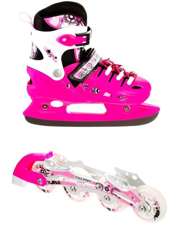Раздвижные детские ролики-коньки Scale Sports (2в1), размер 32,5-35,5, Pink
