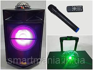Автономная акустическая система с микрофоном WilliCo ZS-60 IP, с диско-шаром 300W (USB/FM/Bluetooth)