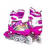 Раздвижные детские роликовые коньки Scale Sports LF 907M, размер 32,5-35,5, Розовые