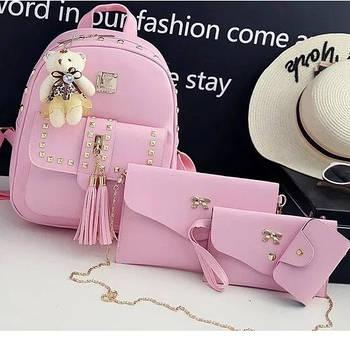 Женская сумка 4 в 1 Teddy Backpack Bag Розовая