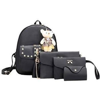 Жіноча сумка 4 в 1 Teddy Backpack Bag Чорна