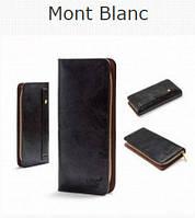 Клатч-портмоне мужской Montblanc (Монтблан) черный матовый