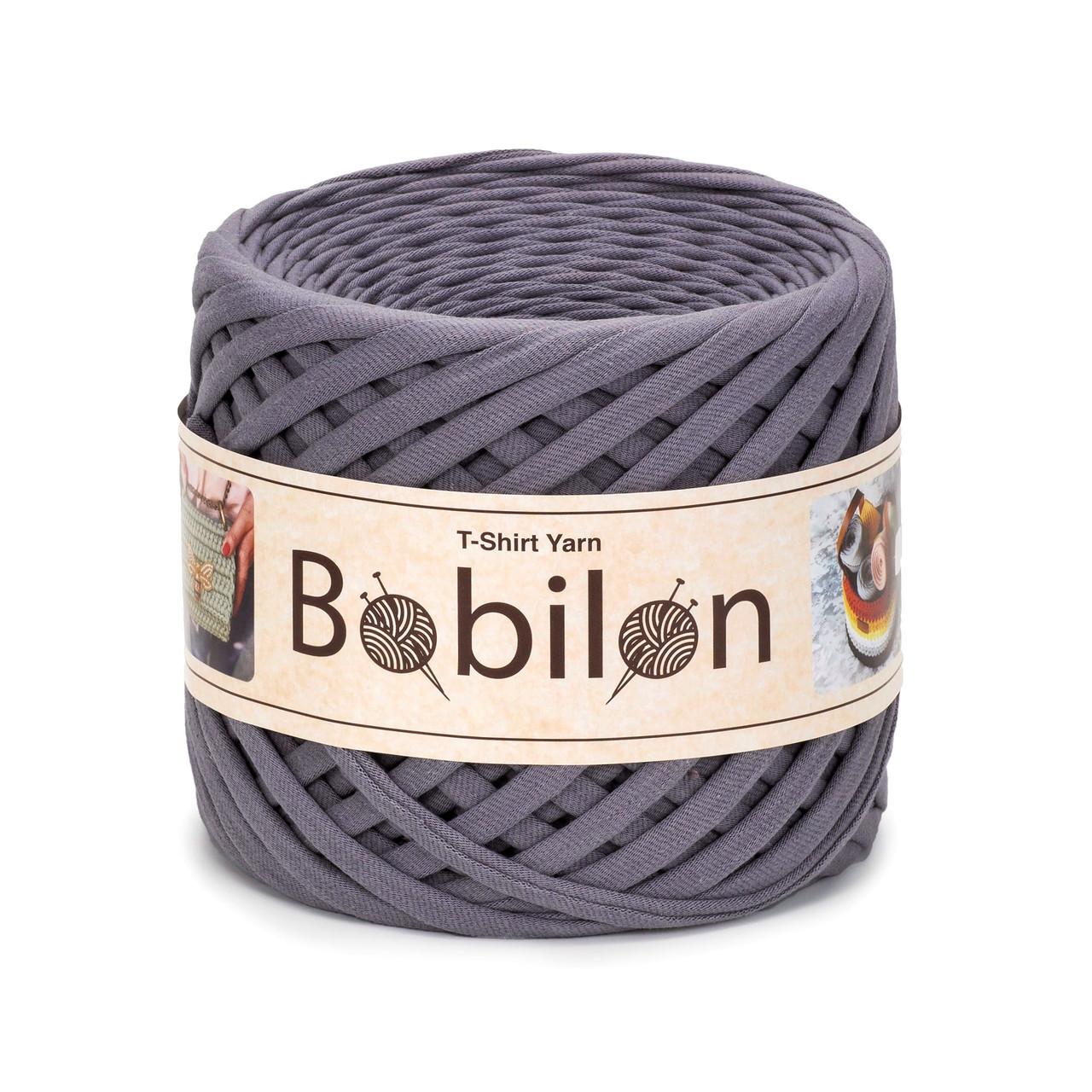 Пряжа трикотажна Bobilon Mini (5-7мм). Колір Сіра мишка