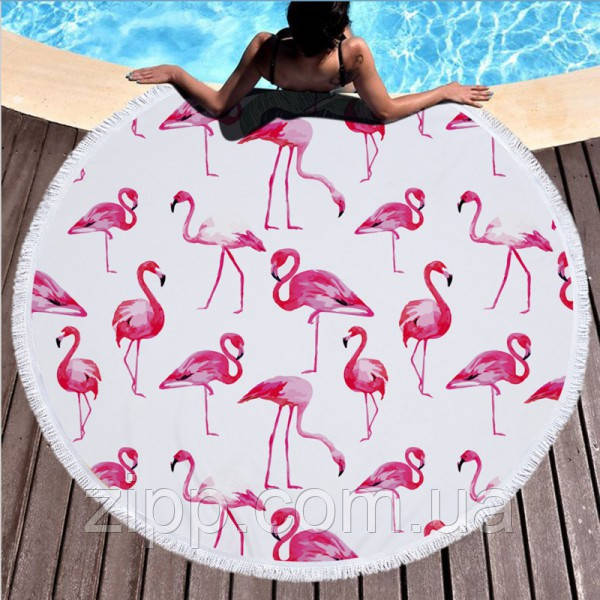 """Пляжное круглое полотенце из микрофибры, коврик-покрывало Beach Holiday NEW подстилка, 150 см, """"Фламинго"""""""