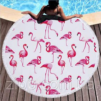 """Пляжне кругле рушник з мікрофібри, килимок-покривало Beach Holiday NEW підстилка, 150 см, """"Фламінго"""""""