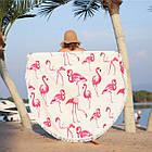 """Пляжное круглое полотенце из микрофибры, коврик-покрывало Beach Holiday NEW подстилка, 150 см, """"Фламинго"""", фото 2"""