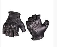 Тактичні шкіряні рукавички Mil-tec без пальців чорні 2XL