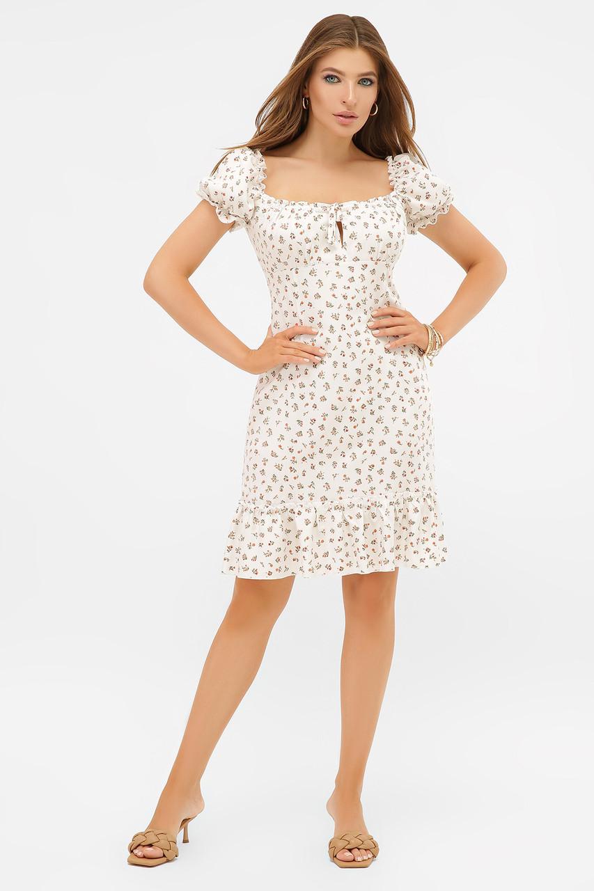 Летнее платье миди белое в цветочек Даная