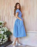 Голубое льняное платье-халат кроя на запах с белыми вертикальными полосками XL, фото 3