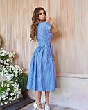 Голубое льняное платье-халат кроя на запах с белыми вертикальными полосками XL, фото 4