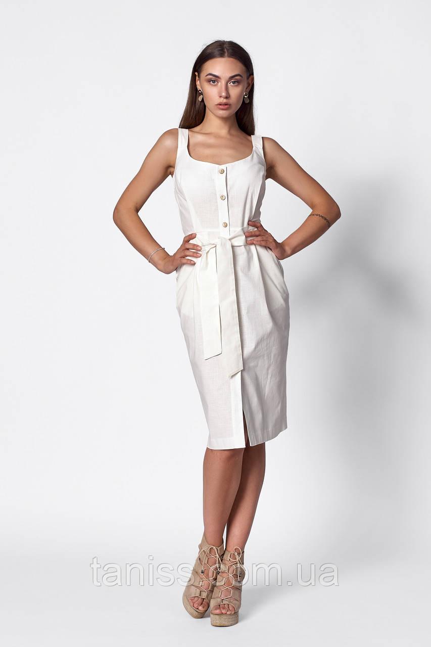 Летний повседневный сарафан  , ткань лен ,размеры 42,44,46,48,50 ( 1267.3)  молочный , сукня