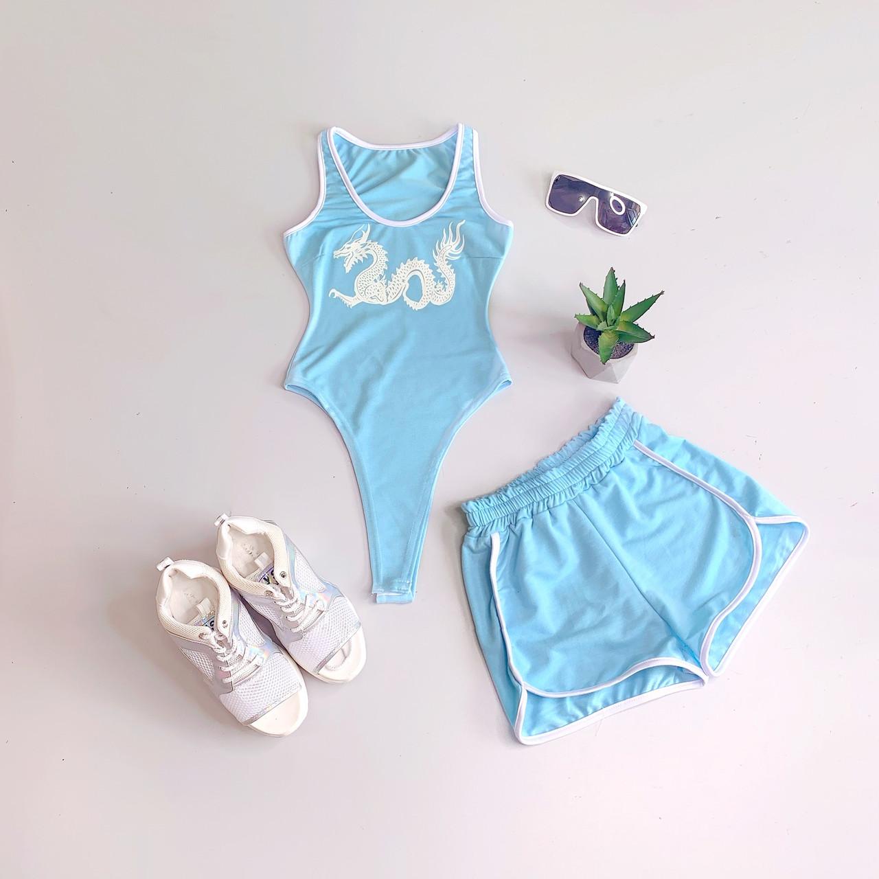 Женский летний спортивный костюм с шортами и боди без рукава tez6605992Е