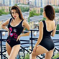 Женский сдельный купальник с рисунком фламинго спереди tez5625457, фото 1