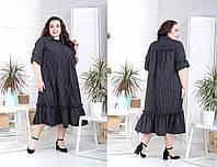 Свободное летнее платье в принт рубашка батал с оборкой tez1015711, фото 1