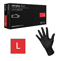 Перчатки нитриловые неопудренные чёрные, размер L (100 шт/уп) NITRYLEX BLACK 4,4г.