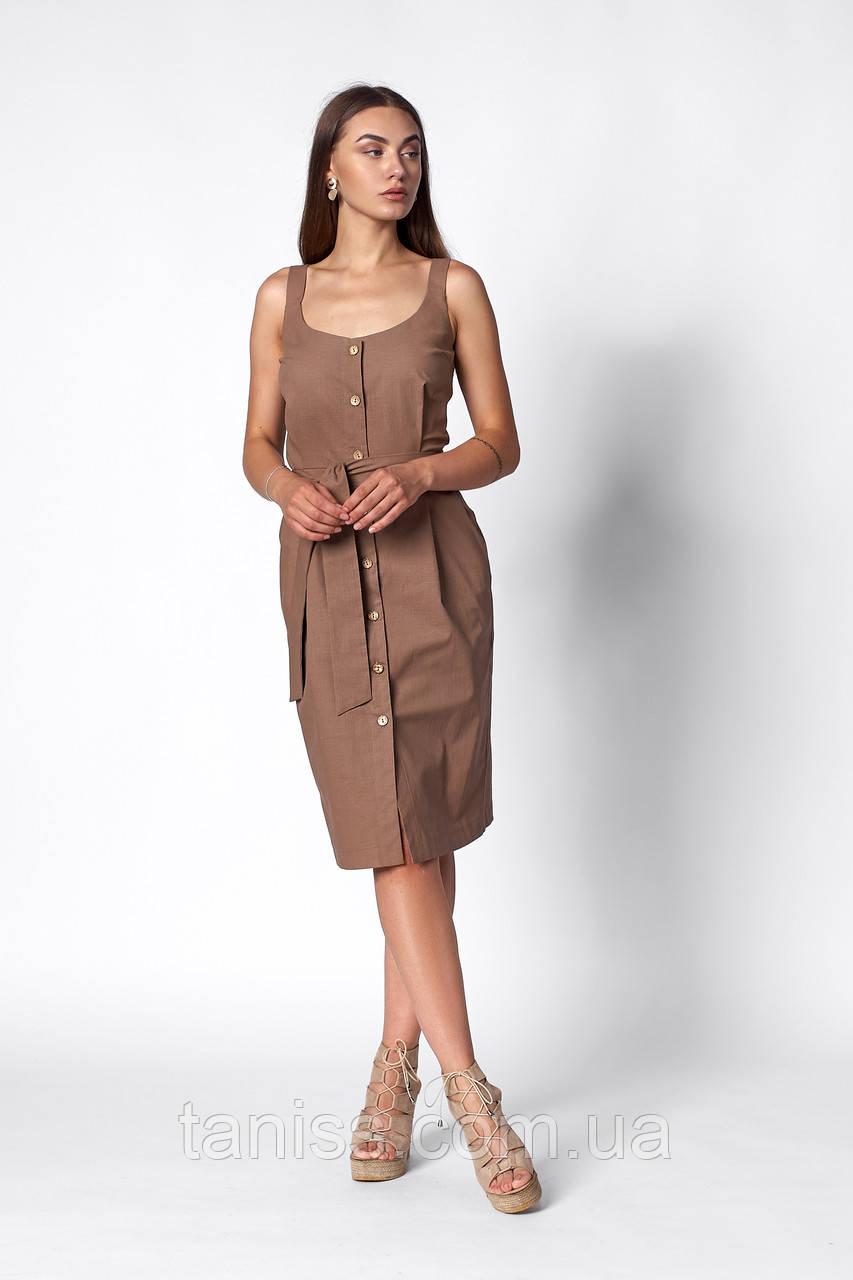 Летний повседневный сарафан  , ткань лен ,размеры 42,44,46,48,50 ( 1267.2)  мокко , сукня