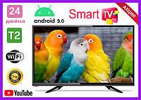 Телевизор Samsung 24 дюйма SMART TV, Full HD, Wi-Fi, с подставкой T2, Самсунг, Смарт ТВ на андроид