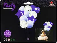 """Воздушные шары 836821 фольгированные """"Фиолетовый с серпантином"""", набор 10шт"""