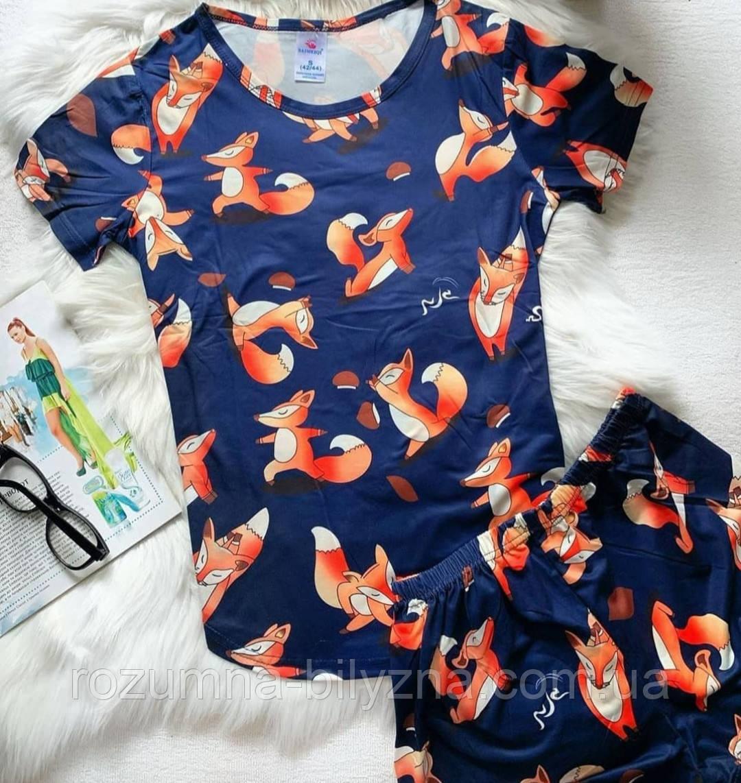 Піжама жіноча футболка+шорти, лисички. ТМ SAIMEIQI. L.