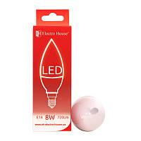 ElectroHouse LED лампа свічка E14/4100K/8W 720Lm /180° C37