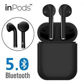 Беспроводные наушники  InPods 12 Macaron Black в стиле Apple AirPods сенсорные с кейсом