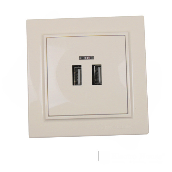 ElectroHouse Розетка USB (2 порта) латте Enzo 2A IP22