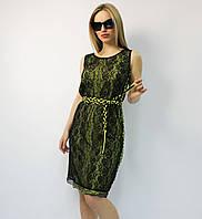 Нарядное коктейльное летнее платье-футляр черное кружевное натуральное ЛЮКС-качество молодежное стильное лимон