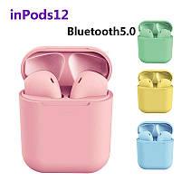 Беспроводные наушники  InPods 12 Macaron Розовые  в стиле Apple AirPods сенсорные с кейсом