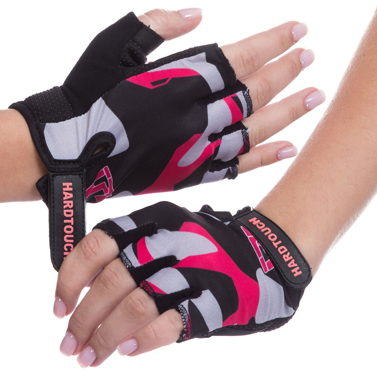 Рукавички для фітнеcу HARD TOCH FG-009 (PVC, PL, відкриті пальці, розмір XS-L, чорний-рожевий)