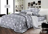 Полуторный серый комплект постельного белья из Ранфорса со звездами