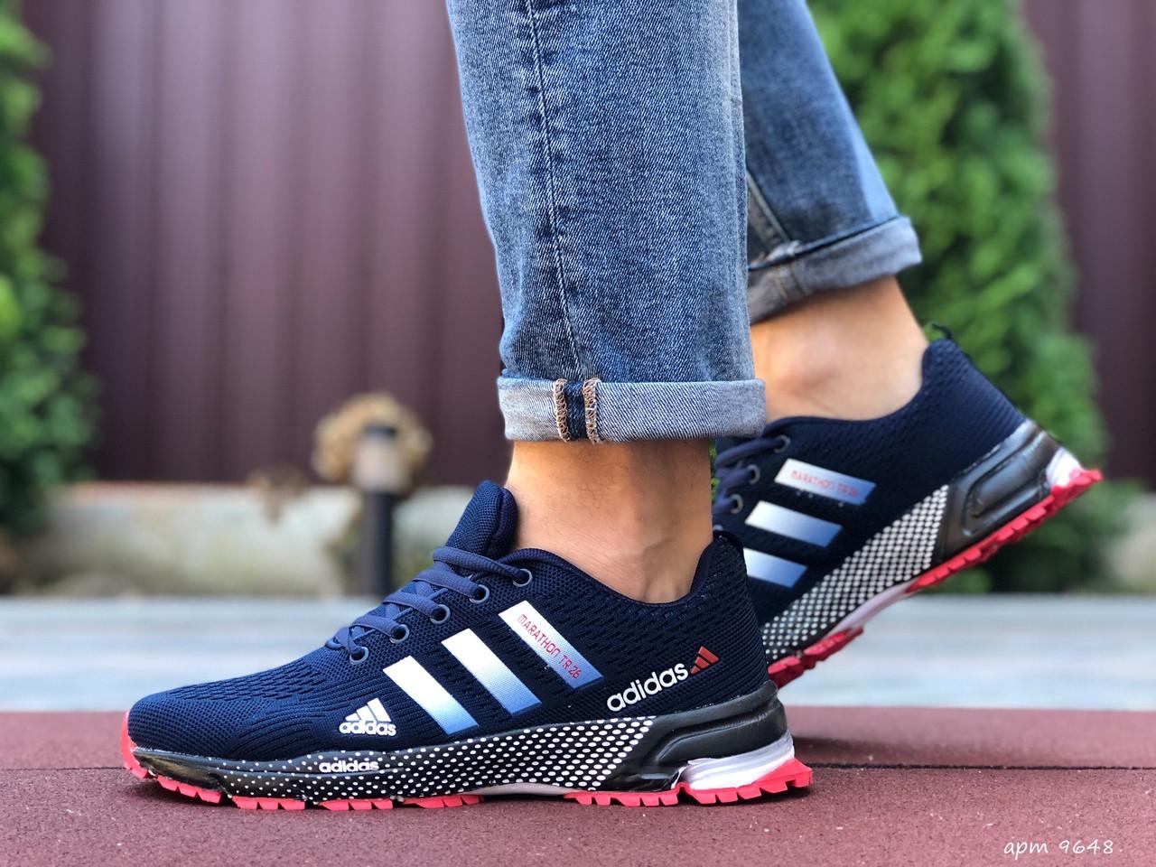 Чоловічі літні кросівки Adidas Marathon TR 26,сітка,темно сині