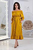 А395 Стильное летнее женское льняное платье-сарафан с вырезом Анжелика горчичный цвет/ цвет горчица