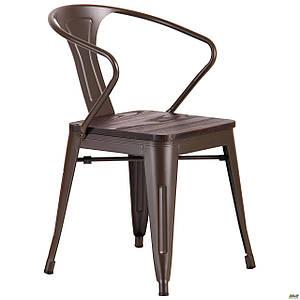 Металлический стул уличный AMF Marley с деревянным сидением цвет кофе для ХоРеКа