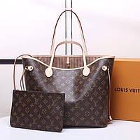 Кожаная женская сумка шоппер Louis Vuitton Neverfull. Натуральная кожа + канва.