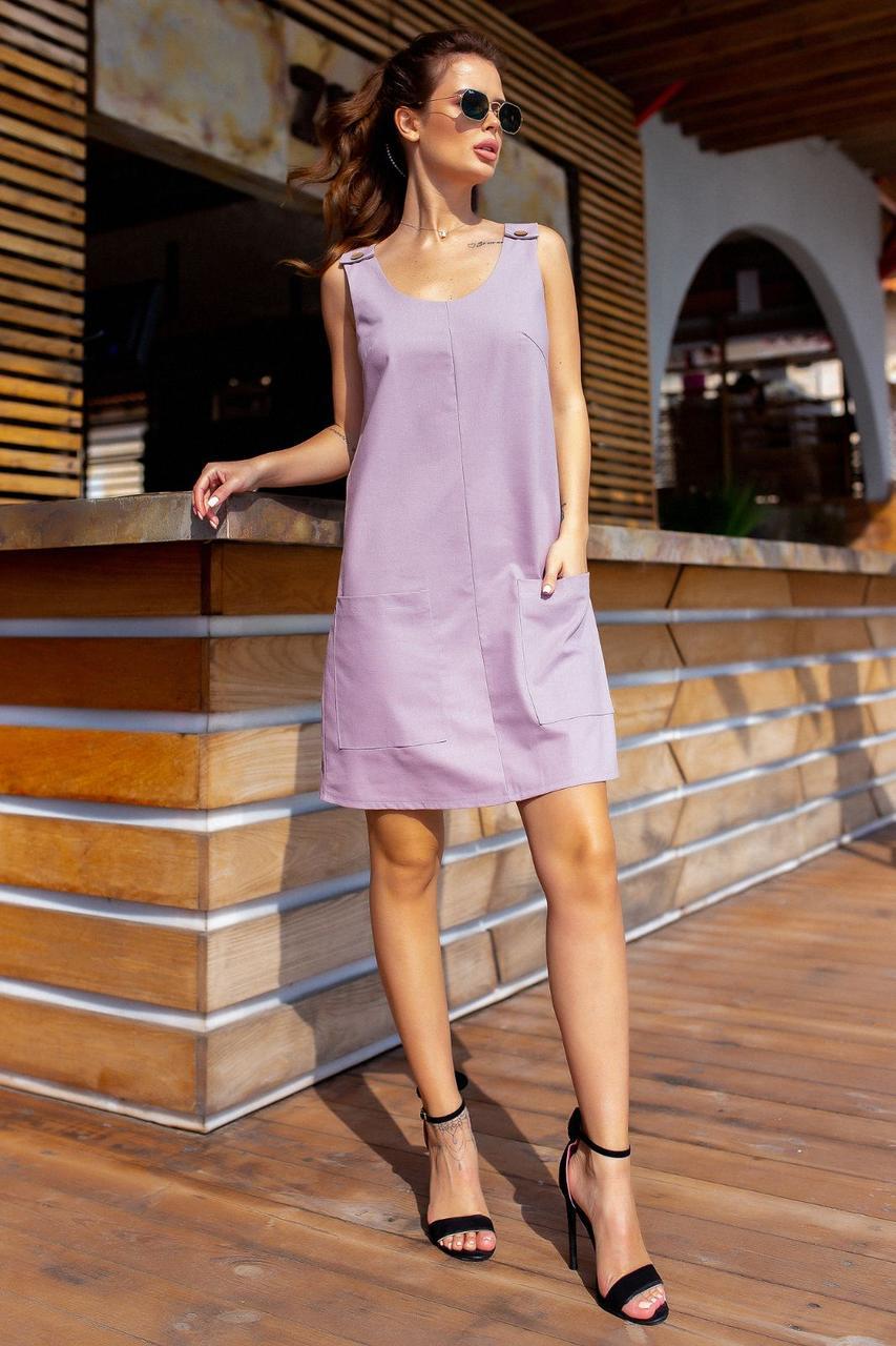 Платье с карманами, сарафан, однотонный Лиловый
