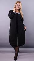 Демисезонное женское платье батальное «Коллаж» (Черное | 50/52, 54/56, 58/60, 62/64,66/68)