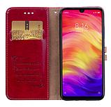 Чехол - книжка Xiaomi Redmi Note 8T с силиконовым бампером и отделением для карточек Цвет красный, фото 3