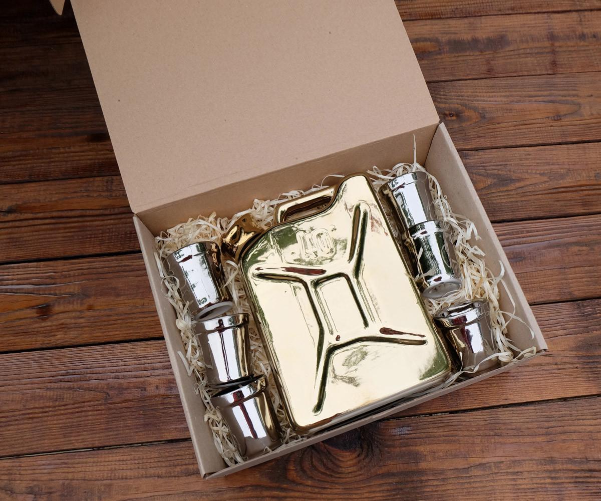 Подарочный набор Дозаправка №1 - золотая канистра и 6 рюмок (305)