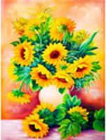 """Картина по номерам 3168 """"Букет подсолнухов"""" 40х50см, набор краски акрил, кисть -3шт, фото 1"""