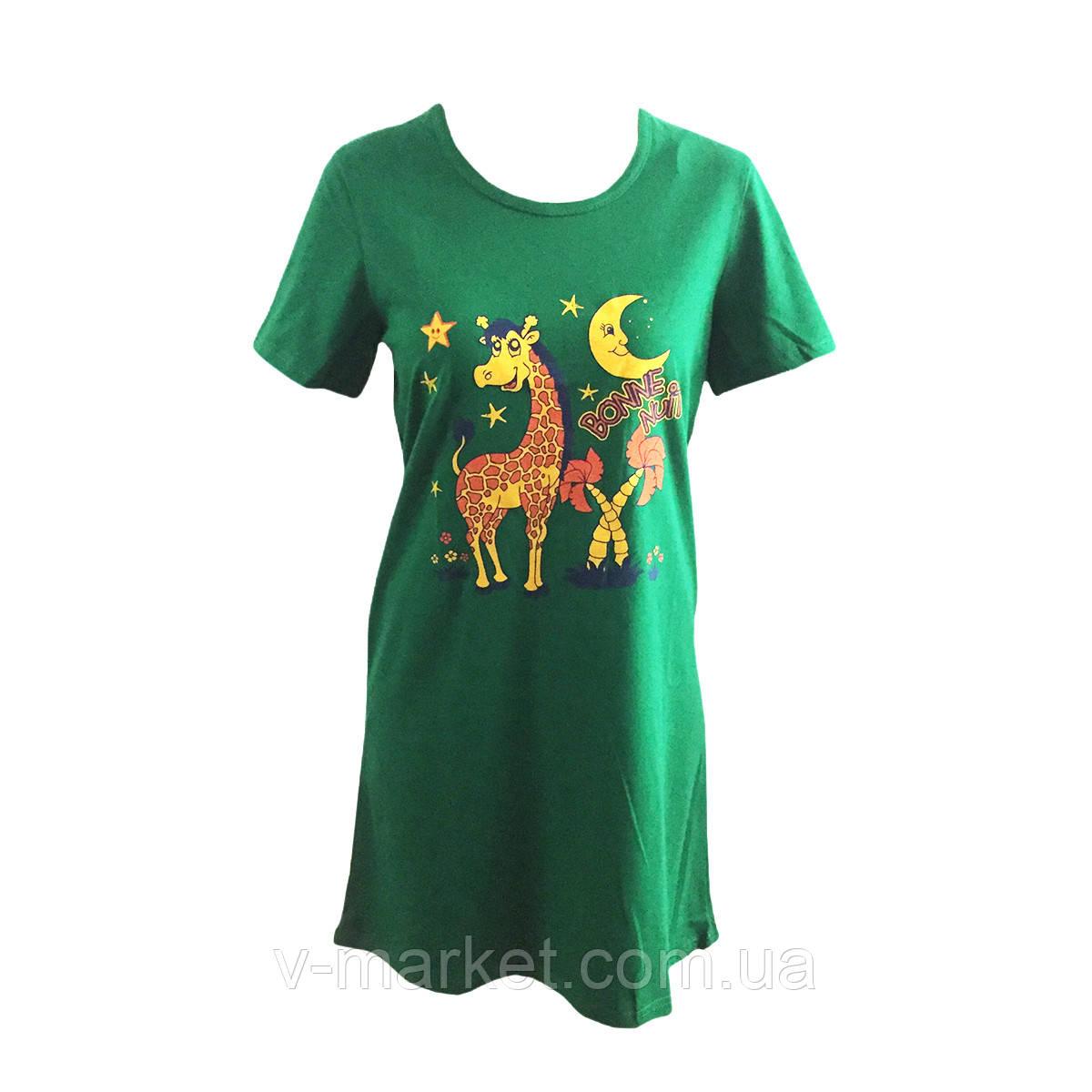 Летняя женская пижама футболка трикотажная, размеры 42-52
