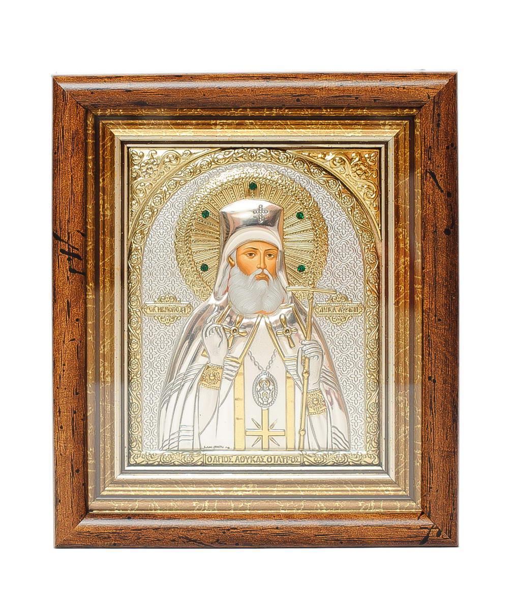 Серебряная Икона Луки Крымского 13х11 см в киоте под стеклом украшена камнями
