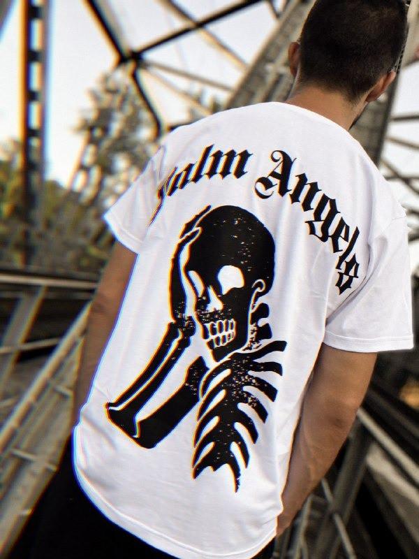 Футболка белая Palm Angels Скелет
