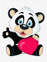 Картина по номерам Панда с сердцем