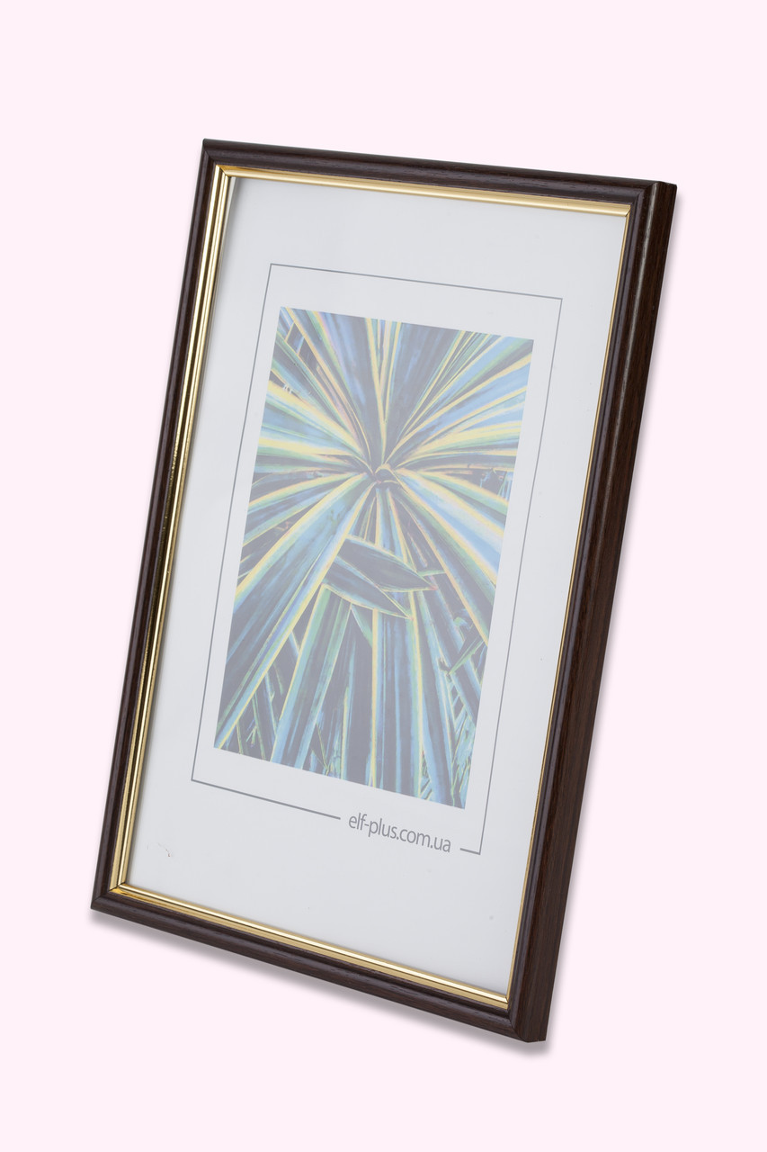 Рамка 15х21 А5 из пластика - Коричневый тёмный с золотом - со стеклом