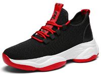 Кроссовки черно-красные текстиль, фото 1
