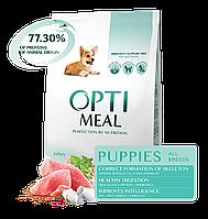 Сухой полнорационный корм Optimeal для щенков всех пород со вкусом индейки 12 кг